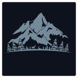 Vintage del diseño de la camiseta del ejemplo y de la montaña del logotipo Imagen de archivo libre de regalías