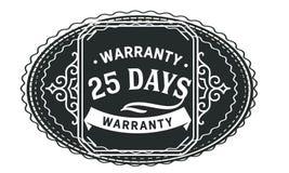 vintage del diseño de la garantía de 25 días, la mejor colección de sello ilustración del vector