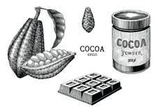 Vintage del drenaje de la planta del cacao y de la mano del producto que graba el isolat del estilo ilustración del vector