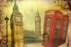 Vintage del ejemplo del diseño del arte de Londres retro stock de ilustración