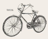 Vintage del grabado del alto detalle de la bicicleta que viaja stock de ilustración