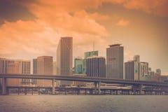 Vintage del horizonte de Miami fotografía de archivo