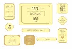 Vintage del sistema de elementos del día de tarjetas del día de San Valentín aislado en el fondo blanco Imagenes de archivo