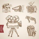 Vintage del vector del grabado de las palomitas de la demostración de la película de la televisión del cine TV stock de ilustración