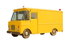 Vintage Delivery Van. A yellow delivery van isolated on white. Blank and ready for branding Stock Images