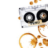 Vintage demo tape with coffee stains. Isolated on white background Royalty Free Stock Images