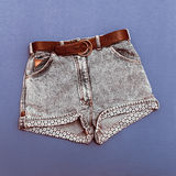 Vintage denim women's shorts Royalty Free Stock Photography