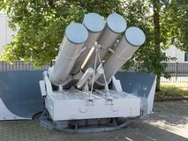 Depth charge launcher. Vintage depth charge launcher in the Netherlands Stock Image