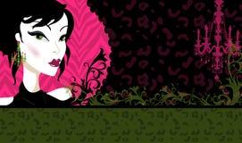 Vintage Design. Illustration of a vintage style design. Hot pink, green, chandelier, animal print background vector illustration
