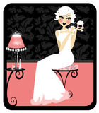 Powder Makeup. Illustration of a vintage style design. Woman pampering herself with cosmetics Royalty Free Stock Photo