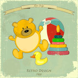 Vintage Design Baby Card Stock Images