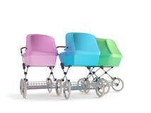 Vintage design baby stroller. 3d render Stock Images