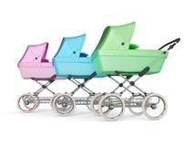 Vintage design baby stroller. 3d render. Vintage multi color design baby stroller. 3d illustration Stock Images