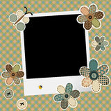 Vintage design background for scrapbook with photo frame Stock Image