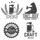 Vintage design for bar, pub and restaurant business. Set of Craft Beer badges with hops and bear. Vector illustration. Vintage design for bar, pub and Royalty Free Stock Photography