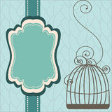Vintage design with birdcages. Beautiful background with frame and birdcage, vector illustration stock illustration