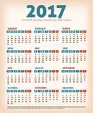 2017 Vintage Design Calendar Stock Image