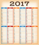 Vintage Design Calendar For Year 2017 Royalty Free Stock Photos