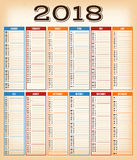 Vintage Design Calendar For Year 2018 Stock Photo