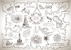 Vintage design collection for treasure or pirate map with engraved drawings Stock Photos
