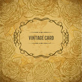 Vintage design cover card with roses and leaves on aged paper background. Retro hand drawn vector illustration Royalty Free Stock Photo