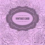 Vintage design cover card with roses and leaves. Retro hand drawn vector illustration.  Stock Photo