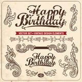 Vintage design elements. Happy Birthday Royalty Free Stock Image