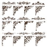 Vintage Design Elements Ornaments Frame Corners Curbs Retro Stickers And Damask Vector Set Illustration Stock Photo