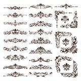 Vintage Design Elements Ornaments Frame Corners Curbs Retro Stickers And Damask Vector Set Illustration Royalty Free Stock Photos