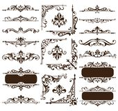 Vintage design elements ornaments frame corners curbs retro stickers and damask vector set illustration. White background Stock Images