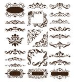 Vintage design elements ornaments frame corners curbs retro stickers and damask vector set illustration Royalty Free Stock Photography