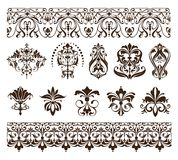 Vintage design elements ornaments frame corners curbs retro stickers and damask vector set illustration Royalty Free Stock Image