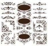 Vintage design elements ornaments frame corners curbs retro stickers and damask vector set illustration. White background Stock Image