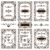 Vintage design elements ornaments frame corners curbs retro stickers and damask vector set illustration Stock Photography
