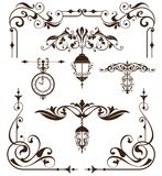 Vintage design elements ornaments frame corners curbs retro stickers and damask vector set illustration Stock Image