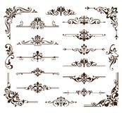 Vintage design elements ornaments frame corners curbs retro stickers and damask vector set illustration. White background Royalty Free Stock Photo