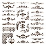 Vintage design elements ornaments frame corners curbs retro stickers and damask vector set illustration. White background Stock Photo