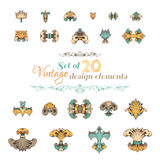 Vintage design elements and page decorations. Royalty Free Stock Photo