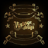 Vintage design elements set. Ribbons. Vector illustration. Gold on black Stock Image