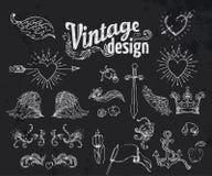 Vintage design elements set. Ribbons. Vector illustration. Vintage design elements set. Ribbons om black. Vector illustration Stock Photo
