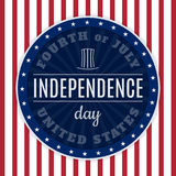 Vintage design for fourth of July Independence Day USA. Designed in traditional american flag colors and retro elements. Royalty Free Stock Photo