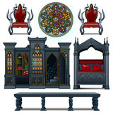 Vintage design furniture of the medieval house Royalty Free Stock Photos