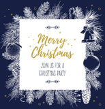 Vintage design for greeting card or invitation for Christmas celebration. Vector frame with hand drawn elements: branches of spruc Stock Photography