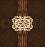Vintage design menu. Stained decorative vector menu braun Stock Photos