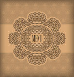 Vintage design menu. Stained decorative vector menu braun Stock Photography