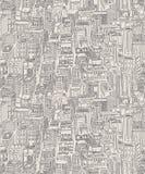 Vintage design newsprint hand drawn seamless pattern Stock Photos
