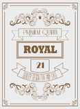 Vintage design royal template with signature, crown and elegant frames Royalty Free Stock Photos