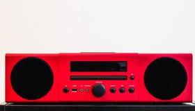Vintage design style red color speaker on white background