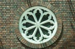 Vintage design style brick round window. Vintage design style round window royalty free stock photos