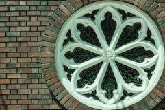 Vintage design style brick round window. Vintage design style round window stock photos